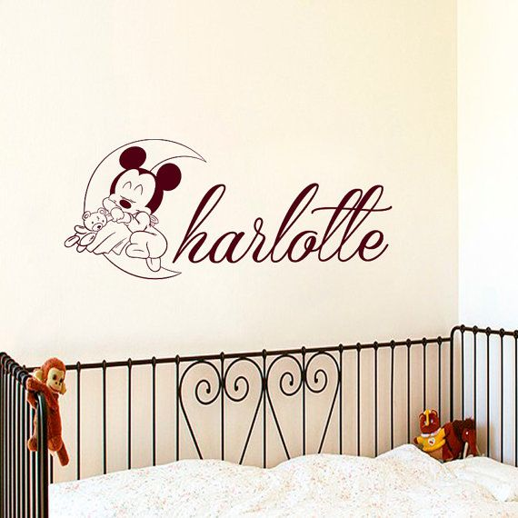 Cheap Vinyl Wall Decals, Buy Quality Baby Bedroom Directly From China Name Wall  Decals Suppliers: Mickey Mouse Sleeping On The Moon Wall Stickers Custom ...