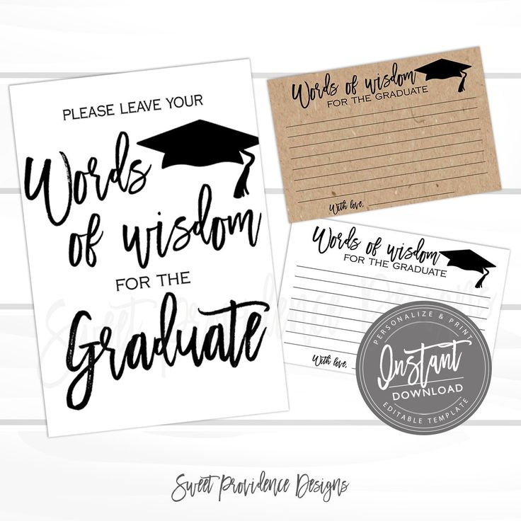 Words of wisdom Cards and Sign, Graduation Party Decor, Graduation Advice, Party Decorations, Wishes for the Grad, Instant Download