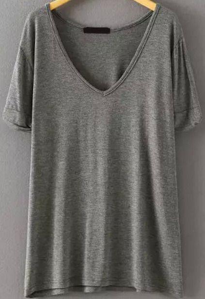 V Neck Loose Grey T-shirt Mobile Site