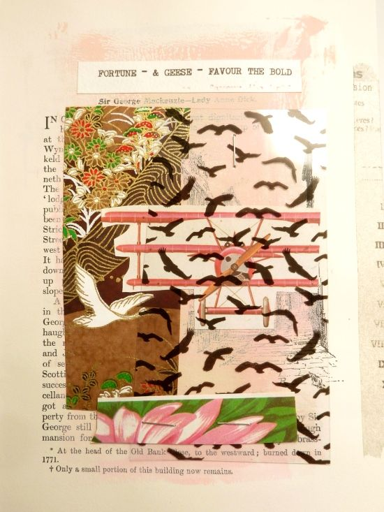 'Fortune & Geese Favour  the Bold' a collage by Julie Kirk [Click through to post for supplies list and prep notes for creating a similar project].