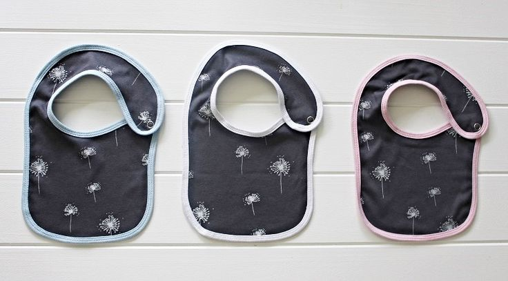 HodgePodge Baby Bibs are Australian Made from certified organic cotton fibre which was farmed without the use of pesticides, genetically modified seed or synthetic fertilisers.  Our bibs have been designed with a double-layer to provide protection from little mishaps.  They also have a reversible option (white dandelion on charcoal / plain charcoal) with a choice of blue, pink or white ribbed edging.