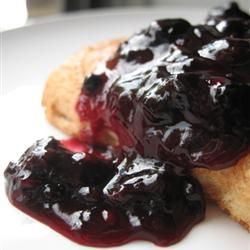 Blueberry Sauce - super easy and super delicious!  I subbed apple juice for the OJ and only used about 2 tsp cornstarch.  Otherwise made as directed.  Yummy on cheesecake!