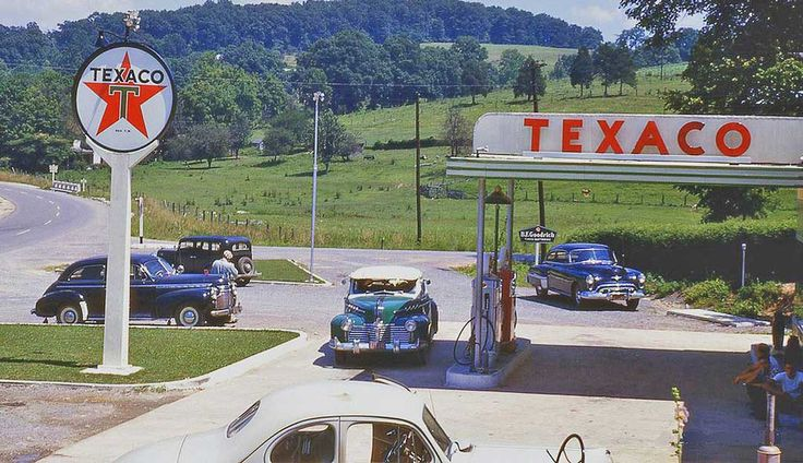 1940s Tractor Repair Signs : Late s texaco service station and cars gas stations
