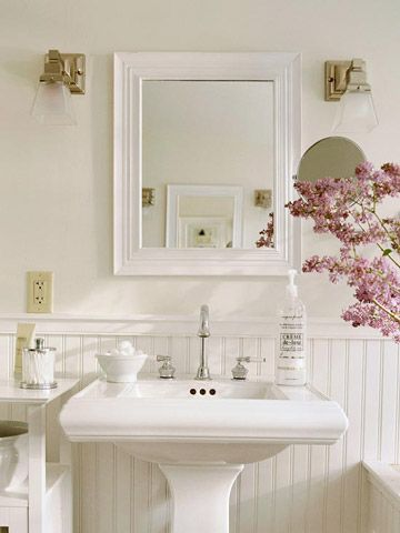 Pedestal Sink   Pedestal sinks are a great option for tight spaces because they take up little wall and floor space, making the room seem more open. A mirror above the sink is a must in any bathroom and helps visually expand the space.