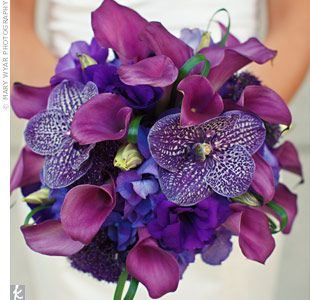 purple wedding bridal bouquets, bridesmaid bouquets, centerpieces