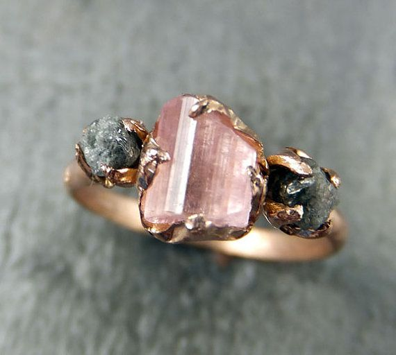 Fabulous Raw Pink Tourmaline Diamond k Rose Gold Engagement Ring Wedding Ring One Of a Kind Gemstone
