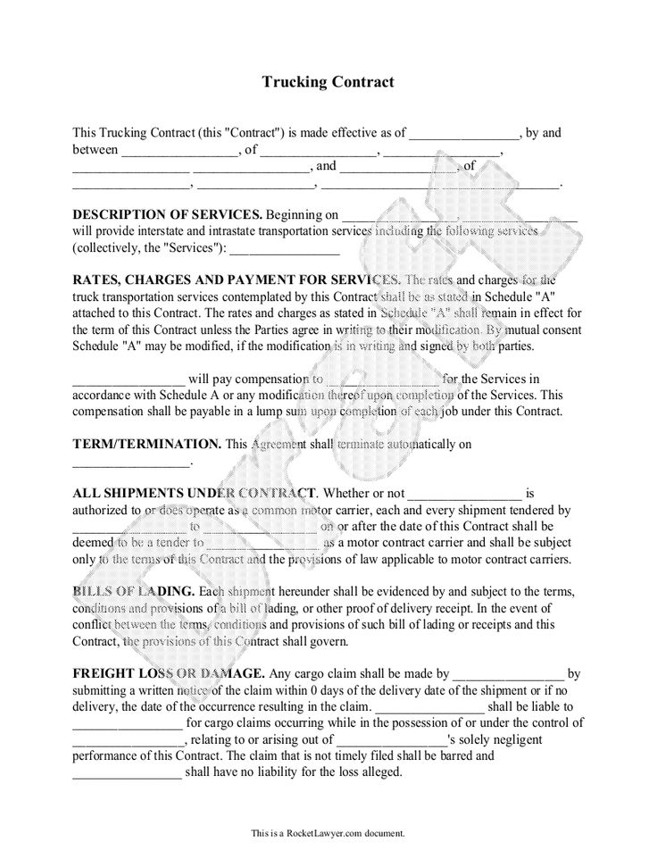 Truck Driver Contract Agreement Free Printable Documents Contract Agreement Contract Template Contract