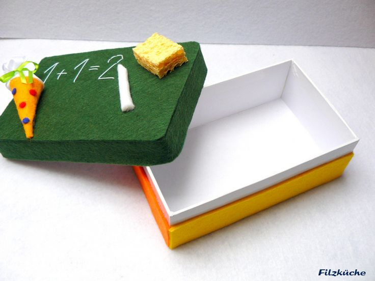Glückwunschkarten - Schulanfang-Geschenke-Box aus Filz - ein Designerstück von filz-kueche bei DaWanda