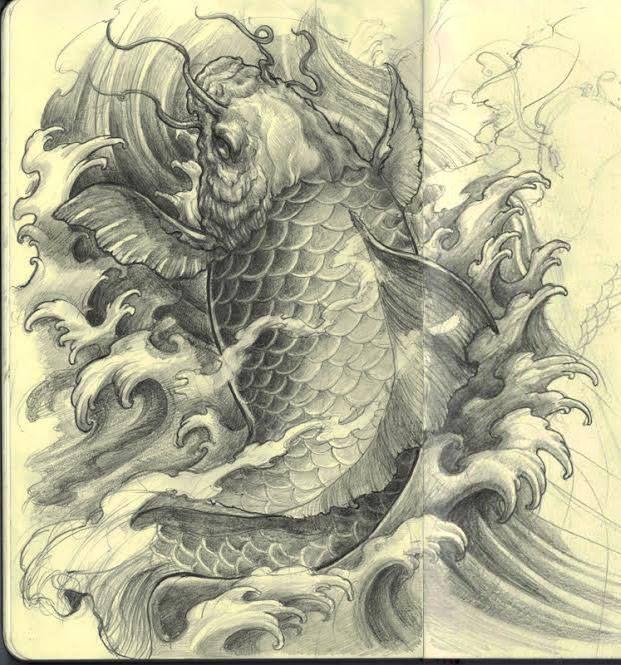 Chronic Ink Tattoo - Toronto Tattoo. Koi fish Sketch by David Hoang.