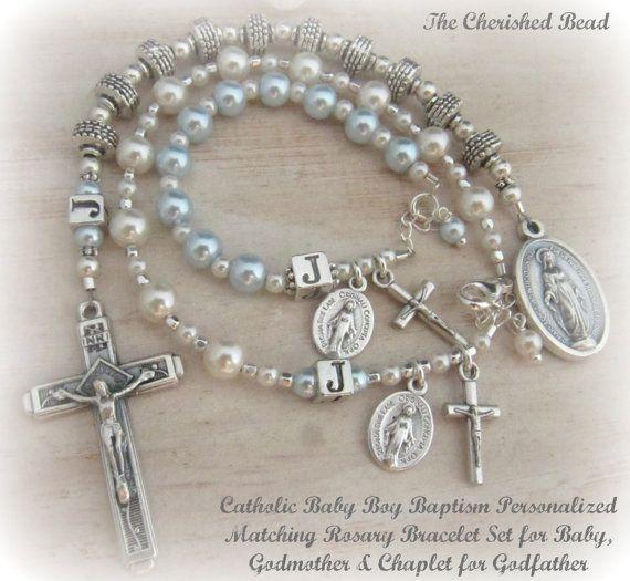 Catholic Baby Boy Baptism Personalized Rosary by TheCherishedBead, $80.00