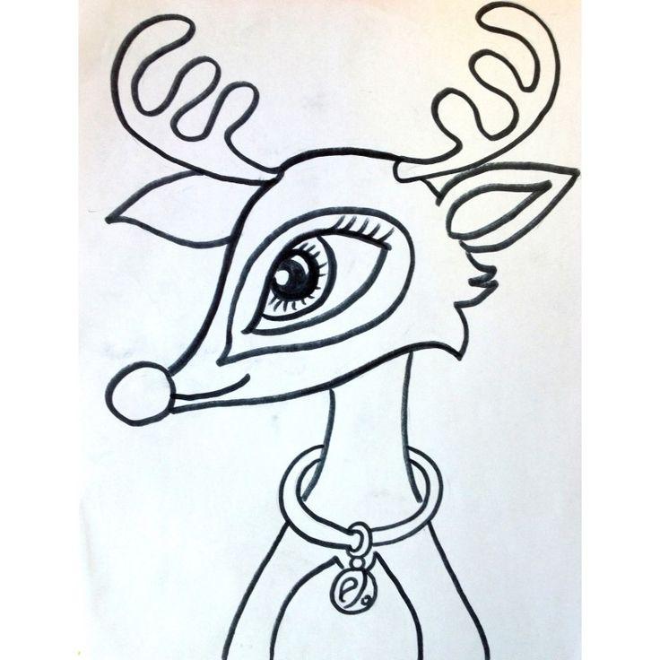 """Voici un projet d'arts plastiques pour 2e année et plus: """"Renne au nez rouge""""  Nous travaillons les formes arrondies et une belle technique avec le pastel sec, pour créer une illusion de lumière autour du nez et des étoiles.  Créer un troupeau"""
