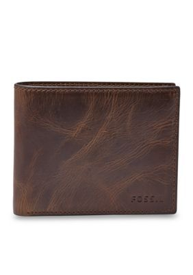 Fossil Women's Derrick Leather Rfid Bifold With Flip Id Wallet - Brown - One Size