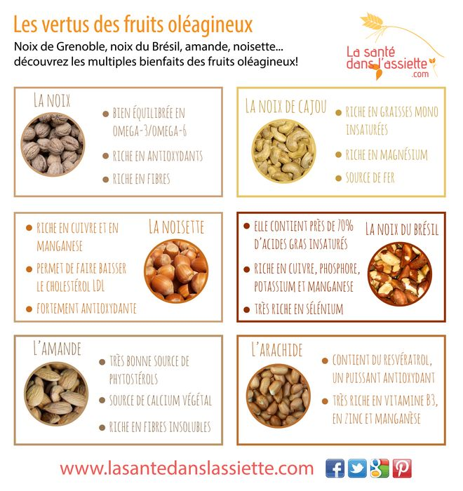 Les bienfaits des fruits oléagineux ! Credit photo : lasantedanslassiette.com