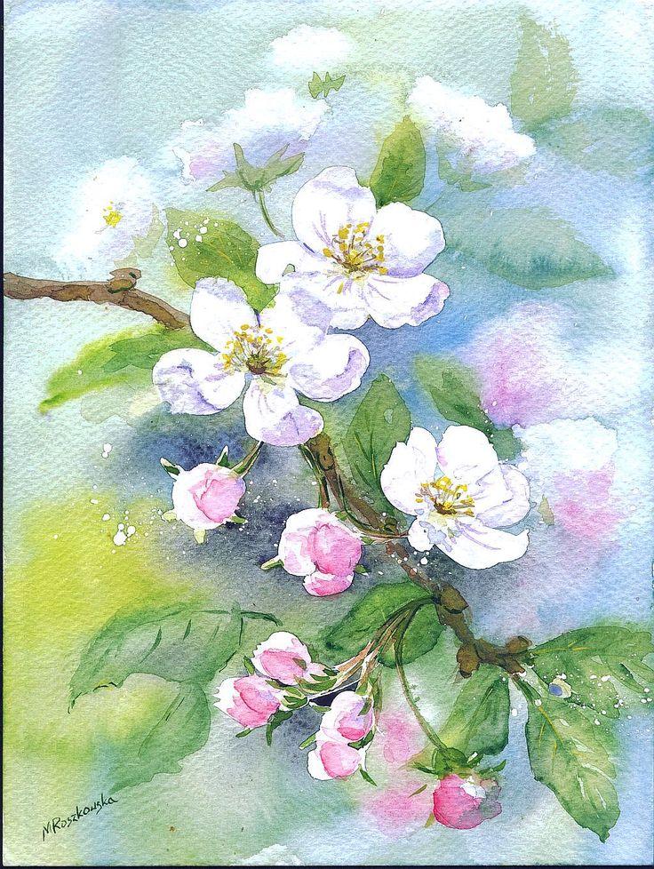 Kwitnąca gałązka - Maria Roszkowska WATERCOLOUR