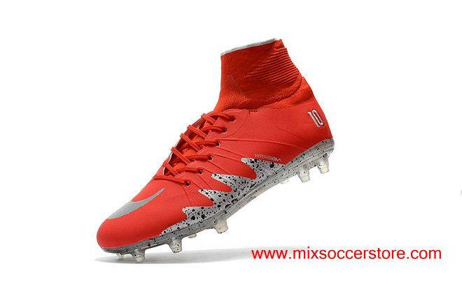 Neymar x Jordan Hypervenom Phantom II FG Hyper Red Silver Black-dots Football Boots