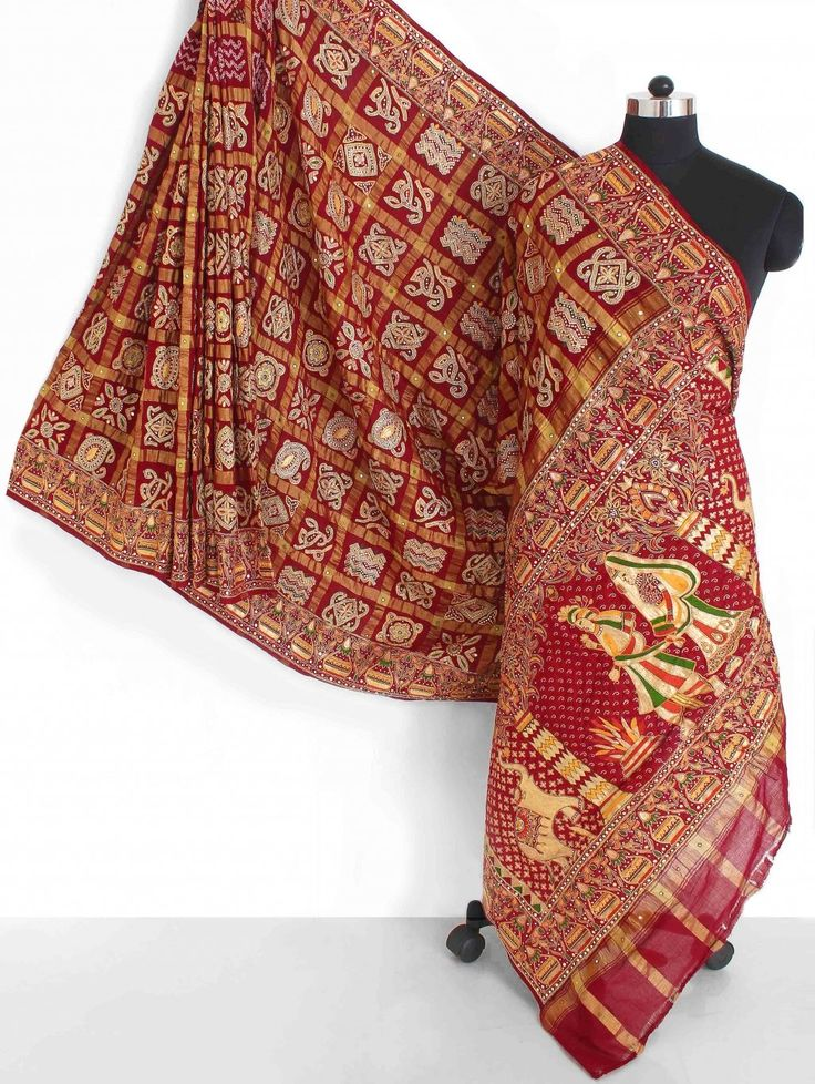 Maroon Cotton Gharchola Saree I like the the wedding scene embroidered on the border of this  Gharchola