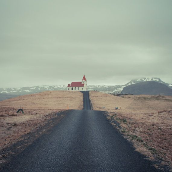 "Chapel up the hill, Iceland photography, Northern lights, Nordic art print, Scandinavia, Poster, 8"" x 8"", 20 cm x 20 cm"