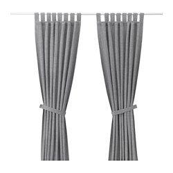 IKEA - LENDA, 2 Gardinen + Raffhalter, , Blickdichte Gardinen schirmen Lichteinfall effektiv ab und sorgen für Privatsphäre.Durch Schlaufen an der Oberkante lassen sich die Gardinen direkt an einer Stange aufhängen.