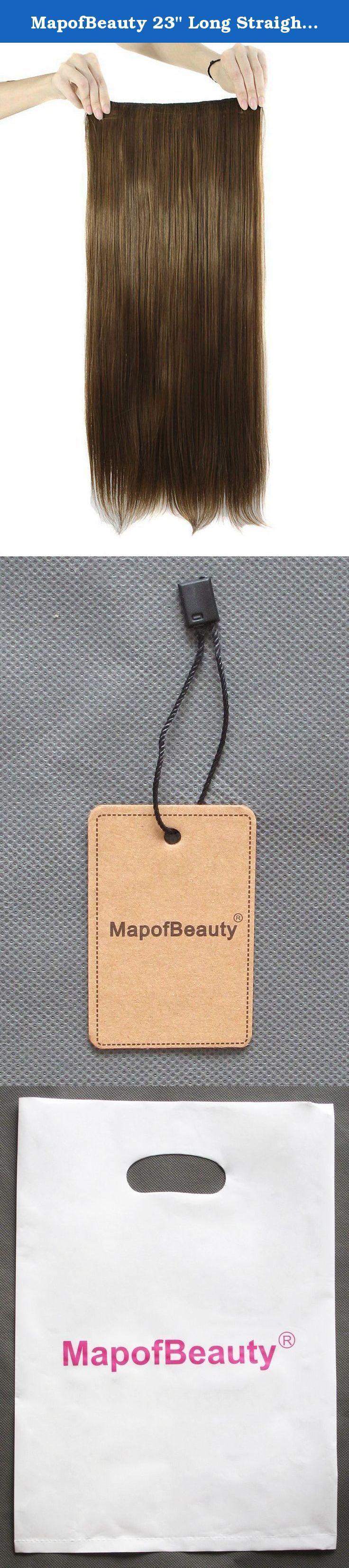 "MapofBeauty 23"" Long Straight Clip in Hair Extensions Hairpieces (Brown). MapofBeauty 23"" Long Straight Clip in Hair Extensions Hairpieces."