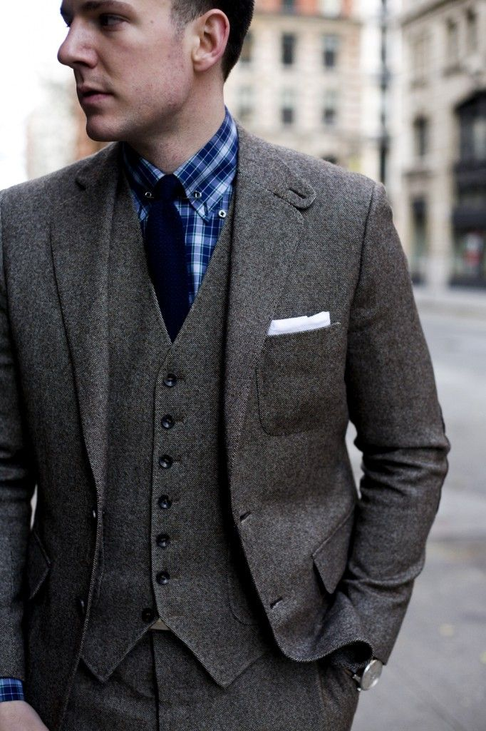 Tweed SuitThreepiece Suits, Grey Suits,  Suits Of Clothing, Men Style, Three Piece Suits, Men Fashion, Fashion Blog, Tweed Suits, Style Fashion