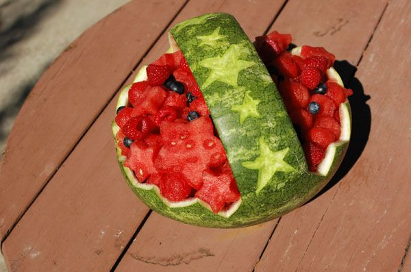 Carved watermelon fruit basket creations