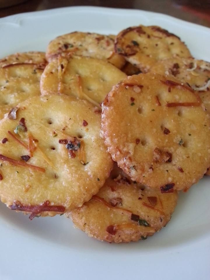 Spicy ranch ritz crackers - Full box of regular Ritz crackers; 8 tbsp (1 stick) of melted, unsalted butter; One package Ranch Seasoning mix; 1 tbsp. red pepper flakes; 1 tsp. garlic powder; 1/2 c. grated Parmesan cheese