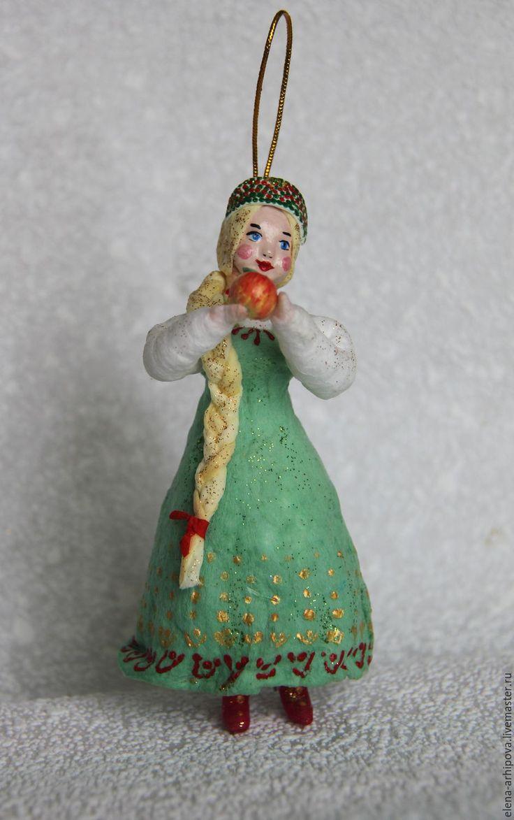 """Купить Ёлочная игрушка из ваты """"Царевна с яблочком"""" - комбинированный, елочная игрушка, царевна с яблочком"""