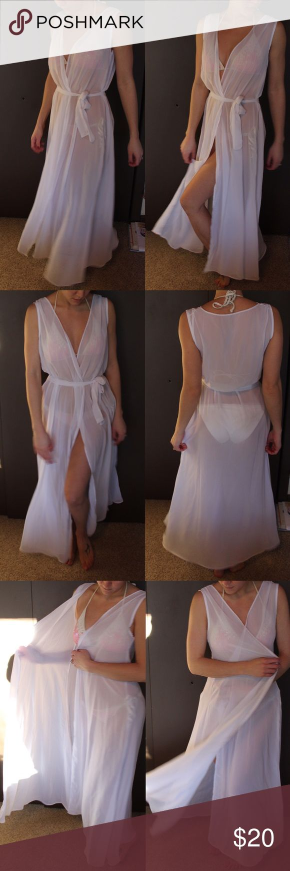 Sheer Chiffon Cover Up with Belt Perfect for a boudoir or maternity shoot, or just wear as a beach cover up! One size fits most. Comes with a ribbon of the material to use as a belt. Swim Coverups