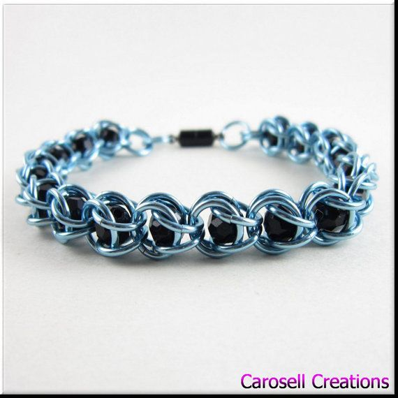 Captured Bead Chain Maille Bracelet or Anklet Light Blue with Black Beads Chainmaille TAGS - jewelry, jewellry, Bracelet, Chainmaille, carosell creations, chain maille, chain mail, chainmail, chain, beads, womens bracelet, chain, blue, light, black, anklet, accessories, magnetic clasp, steam punk, pastel, dramatic, ladies
