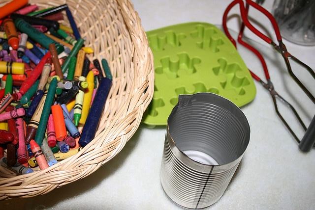 Recycling broken crayons into fun shape crayons!
