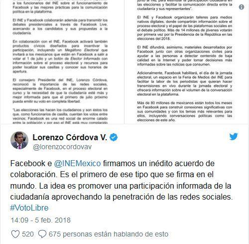 Facebook se involucrará en las elecciones presidenciales de México