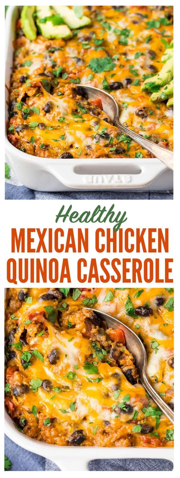 A healthy, easy Mexican chicken casserole recipe your entire family will love! Made with quinoa or with rice, fresh veggies, black beans, and cheese, this creamy, cheesy Mexican casserole has received dozens of glowing reviews! #healthy #glutenfree #mexicanchicken #casserole #healthy
