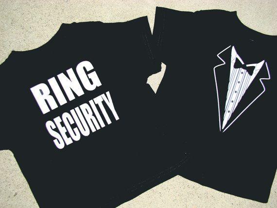 Wedding Tuxedo - RING SECURITY  Tshirt -Child size Tux shirt-Ringbearer Rehearsal Shirt - super cute