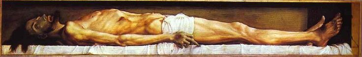 Hans Holbein the Younger 1497/8 – 1543     Christ's Body in the Grave     tempera on panel (30 × 200 cm) — 1521