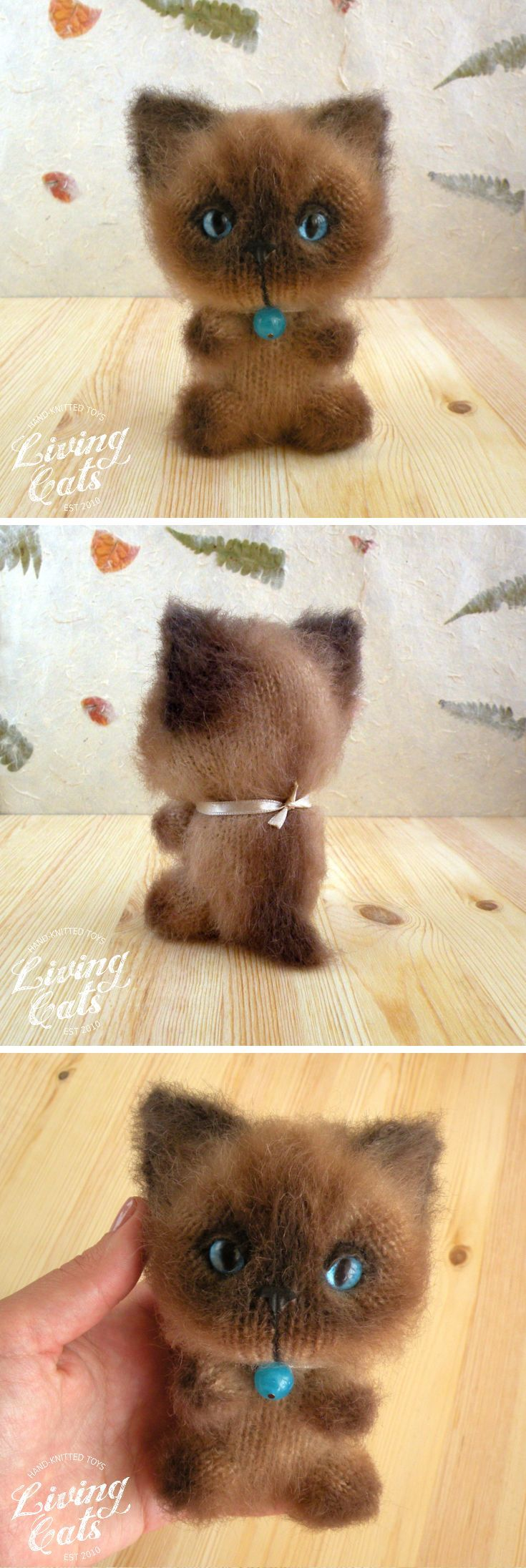 Siamese cat toy, cat plushie, stuffed kitty, knitted thai cat, soft kitty, cat lover gift