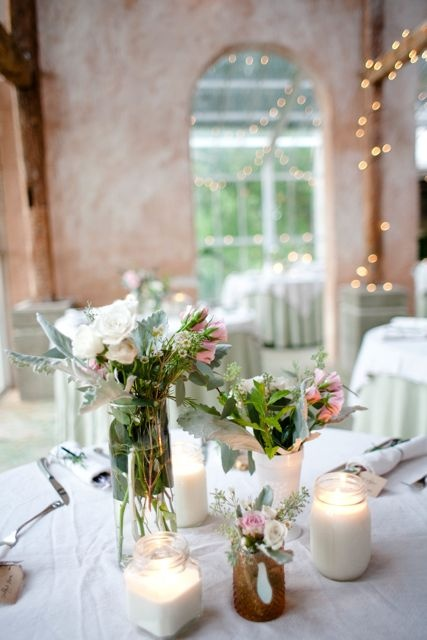 Mrs. Mouse's DIY soy wax candles and garden-inspired centerpieces. Photo by The Nichols of Austin, TX.