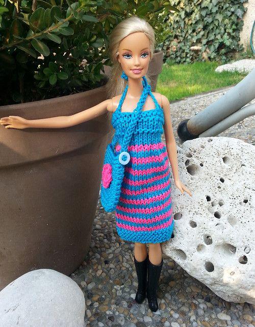 Tyrkysovo-růžové šaty + kabelka pro Barbie