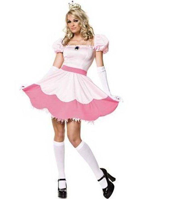 Minetom Damen Prinzessin Peach Kostüm Cosplay Abendkleid Mario Gaming Outfit Rosa