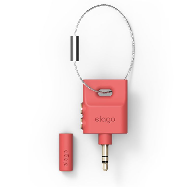 elago Keyring splitter - Italian Rose. Listen through one of the two terminals using earphones and share the other with a friend.