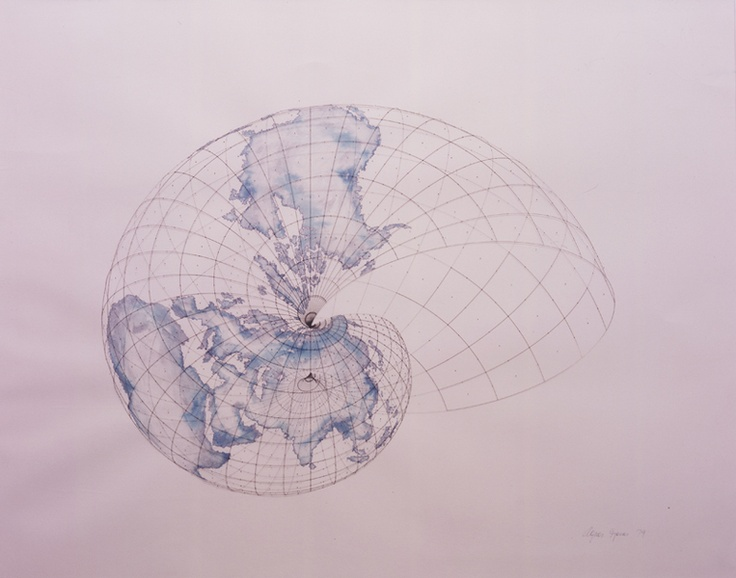 Agnes Denes, Isometric Systems in Isotropic Space—Map Projections: The Snail,1979 2001.167