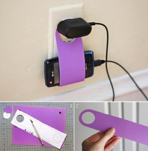 DIY cell phone charger holder