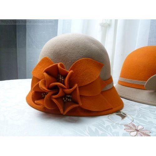 Fashion Camel Orange Wool Warm Winter Church Dress Bucket Hats Women  SKU-158143