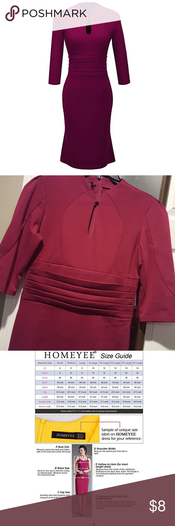 Elegant wine colored dress, size 8 Beautiful burgandy/wine color, with flattering gathering around the mid-section--it hides everything! From smoke free and pet free home. Homeyee Dresses