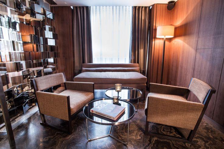 """Ochre """"Long Banquet Couch""""; Living Room (www.emblemprague.com)"""