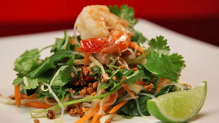 Vietnamese chicken and prawn salad with vermicelli and sugar Peanuts