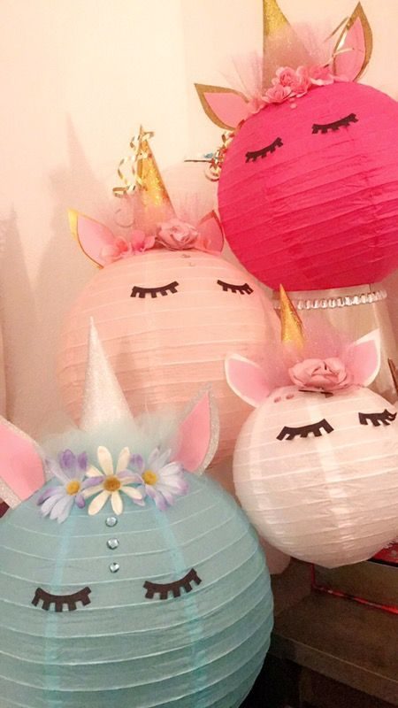 Cute unicorn lanterns For girl or boy. For party decorations or room decor. Make your orders at least 3 days ahead of time or ask which ones I have available :D . I take PayPal , Venmo and snapcash for orders over 15. 9$ 12 inch 5$ smaller lanterns 20$ set of 3. Which includes 2 big ones and 1 small one.
