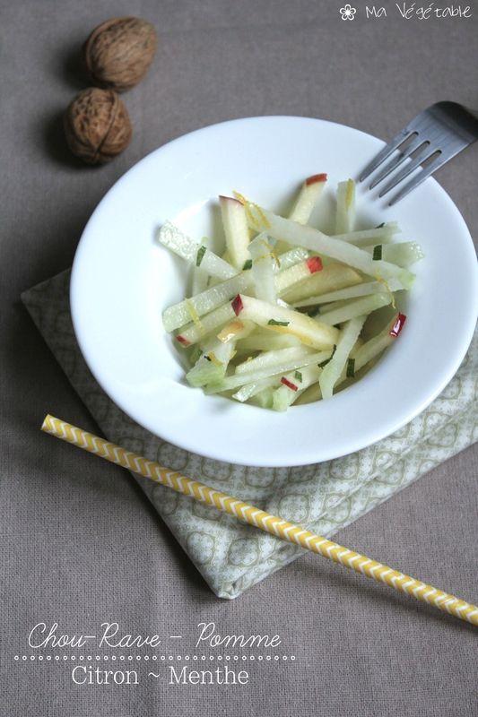 Salade de Chou-Rave & Pomme, Citron Menthe #recette @ Ma Végétable