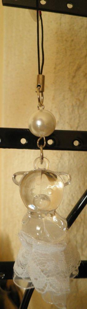 bijou de téléphone portable nounours transparent tutu dentelle-perle blanche