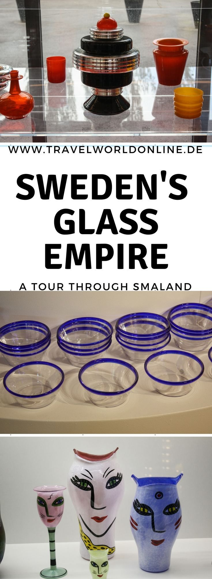 A Tour through Sweden's Glass Empire in Smaland takes you to very different glass manufacturers, who produce Sweden's famous glass - art as well as glasses for daily use.  #Sweden #glass #glassart #smaland #glasriket #glasses #manufacturers