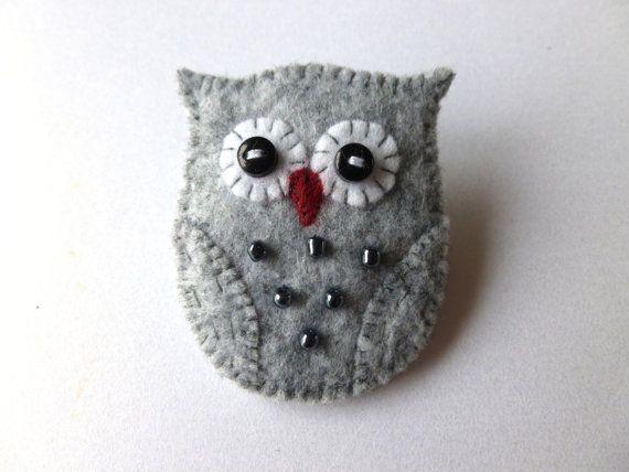 Felt Owl Brooch Pin - Handmade